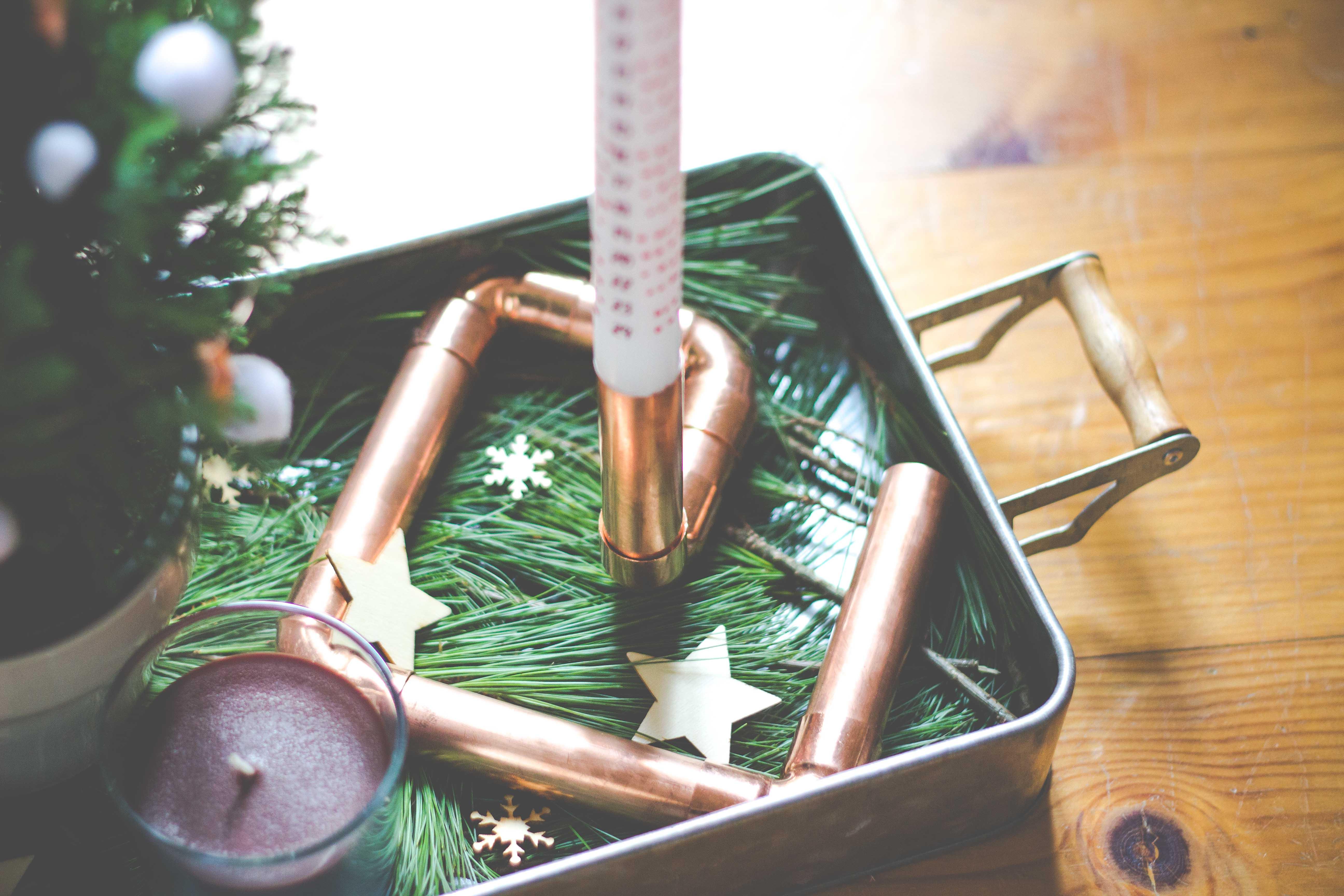 DIY Kerzenständer aus Kupferrohren